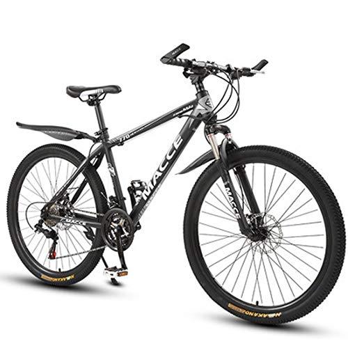 GL SUIT Fahrrad Mountainbike für Erwachsene, 21-Gang-Doppelscheibenbremsen leichten Carbon Stahlrahmen stoßdämpfender Vorderradgabel vorn + hinten Kotflügel Dirt Bike,Schwarz,24 inches