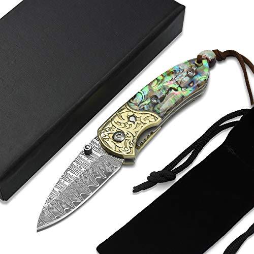 NedFoss Taschenmesser kleines Klappmesser Outdoor Damastmesser Mini mit Geschenkenbox