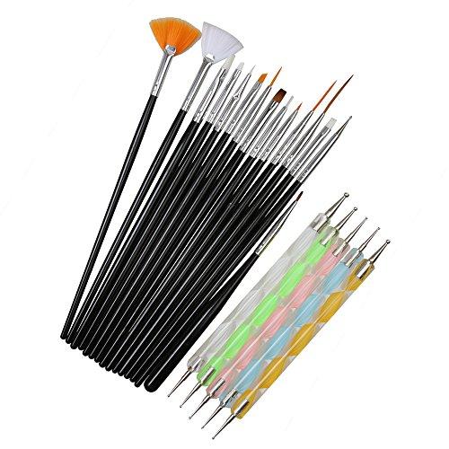 20pcs Cepillos Brochas Pinceles De Maquillaje Facial Nail Art Set Que Puntea Pintura Dibujo Polaco Pluma - Negro