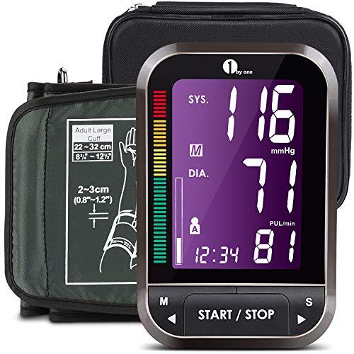 1byone Blutdruckmessgerät Oberarm, Digitaler Blutdruckmesser mit leicht lesbarem LCD Screen mit Hintergrundbeleuchtung--Schwarz