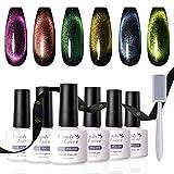 Candy Lover 9D - Esmalte de gel magnético con efecto ojo de gato, esmaltes LED UV, gel semipermanente, 6 unidades con barra de imán