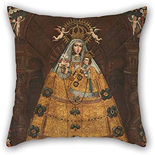 Fundas de almohada de pintura al óleo Anónimo Cusco School - Nuestra Señora del Rosario con Santo Domingo y Santa Rosa para el piso del asiento Diván Ropa de cama Tumbona Sala de baile Cm (2 Si