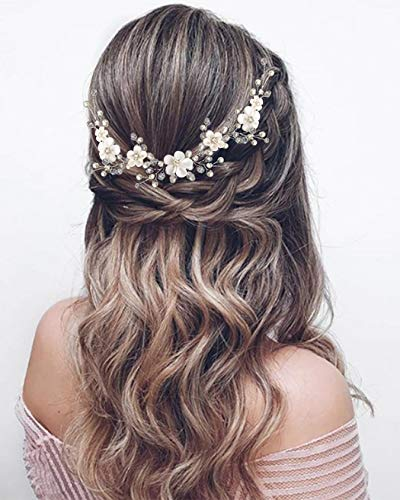 Unicra Blumenhaarschmuck für Bräute, Hochzeits-Haarschmuck, silberfarben, Haaraccessoire, mit Perlen, Brautschmuck, Haarband, für Damen und Mädchen (Silber)