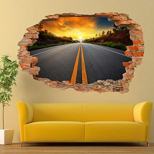 Sunset Road Travel Wandaufkleber Kunst 3D Poster Decal Wandbild Home Decor 70x110cm