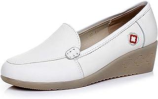 [OceanMap] コンフォートシューズ 厚底 バレエシューズ フラット レディース 大きいサイズ 白 アーモンドトゥ スリッポン 歩きやすい ローヒール パンプス ぺたんこ コンフォート 柔らかい ウェッジソール 4cm 婦人靴