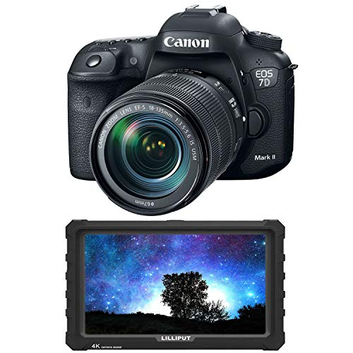 """Canon EOS 7D Mark II DSLR Camera with 18-135mm f/3.5-5.6 is USM Lens & W-E1 Wi-Fi Adapter + 7"""" Lilliput 4K Field Monitor - Ultimate Video Maker Combo"""