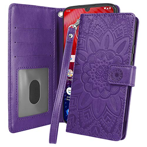 Harryshell Kickstand Flip PU Leather Protective Wallet Case Cover with Card Slots Wrist Strap for Motorola Moto Z4 / Z4 Play (Dark Purple)