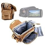 DURAGADGET Borsa/Custodia Marrone per Videocamera Canon Legria HF R806 | HF R86 | HF R88 | Seree HDV-S38 | HDV-S14 | HDV-520 | Pyrus C6 | PY24 con Interni e Tracolla Regolabili - Medie Dimensioni
