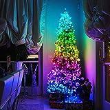 FANLU - Decoración de árbol de Navidad. cadena de luces LED con control remoto mediante aplicación, con enchufe USB