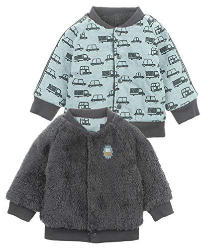 Feetje Teddyplüschjacke zum wenden - Plüsch Uni Grau -> Bio BW Jersey mit Cars Print 0370 (68)