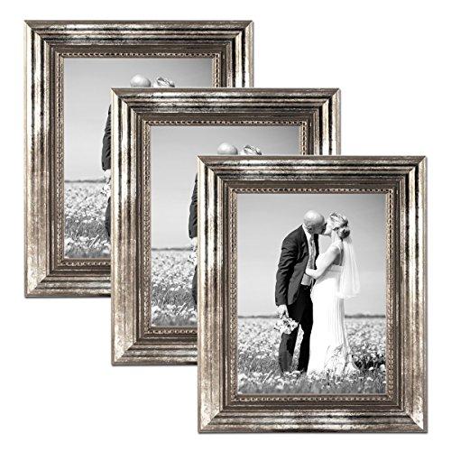 PHOTOLINI 3er Set Bilderrahmen 21x30 cm/DIN A4 Silber Barock Antik Massivholz mit Glasscheibe und Zubehör/Fotorahmen/Barock-Rahmen