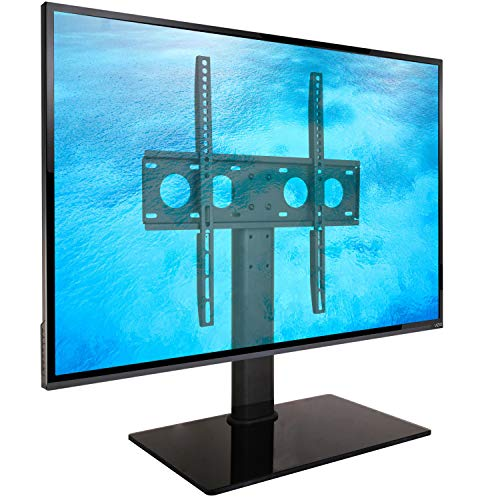 Ergosolid Castor 2 - Soporte de Mesa - Base de Vidrio y Acero para TV LCD, LED 32-55 Pulgadas (81-140 cm en Diagonal) con VESA MAX de 400 x 400 mm, hasta 40 kg, Negro