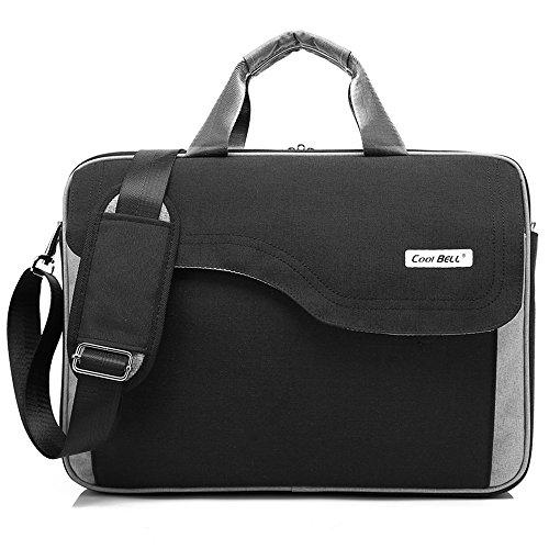 CoolBELL 17,3 Zoll Laptop Tasche Nylon Schultertasche mehrfach Abteil Messenger Bag Handtasche Aktentasche Businesstasche Notebooktasche für Laptop/Tablet/MacBook,Schwarz