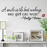 Pegatinas De Pared Una Sonrisa Es El Mejor Maquillaje Labios Rojos Chica Pegatinas De Pared Calcomanía Para El Hogar Cita De Bricolaje Cita Diciendo Arte Gran Regalo Para Una Niña