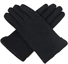 Axdwfd-Children's gloves Women's Winter Plus Velvet Thick Wool Riding Fashion Warm Touch Screen Cute Windproof Ms. Finger (Color : Black)