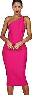 Women's One Shoulder Bandage Evening Knee Length Cocktail Party Dress
