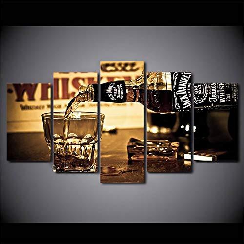 SDALD Impresión de Lienzo 5 Pieza 200x100CM Copa de vino Imágenes modulares 5 Paneles Pintura de Lienzo Arte de la Pared póster e Impresiones Sin Marco lienzo impreso cuadro Modular para arte de pared