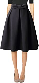 Hanlolo Womens 50s Vintage Skirt Knee Length High Waist Pleated Midi Bow Skirts