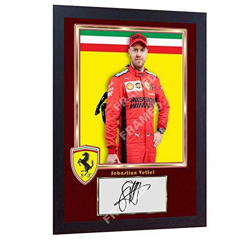 S&E DESING Sebastian Vettel Ferrari Poster Formel 1 signiertes Autogramm, gerahmt