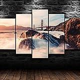 Painting 5 Piezas Cuadro sobre Lienzo Puente Ocean Golden Gate Impresión Pinturas Murales Decor Dibujo con Marco Fotografía para Oficina Aniversario
