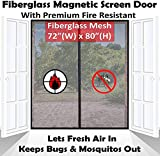 Premium 72'x80' Pets Friendly Magnetic Screen Door for French Door, Fire-Resistant Fiberglass Mesh | No More Whining & Scratching to be Let in or Out | Fit Doors up to 70 x 79 inch
