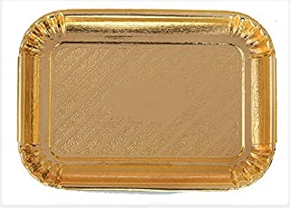 8 pc. Rectangular Gold Cake Trays, Cookie tray laminated Cardboard Disposable and reusable Serving Trays Great for Birthday, Party, Wedding, Size: 8-5/8