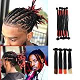 Leyoo 11 Roots 100% Handmade Dread Lock Crochet Hair Short and Long Dread Lock Extension For Men Women Kids (12', 1/Red)