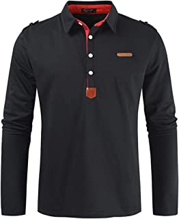 SANFASHION Mens Long Sleeve Polo Shirt Golf Casual Sweatshirt Casual Solid Color Slim Fit Comfy Soft 2020 Newest Classic F...