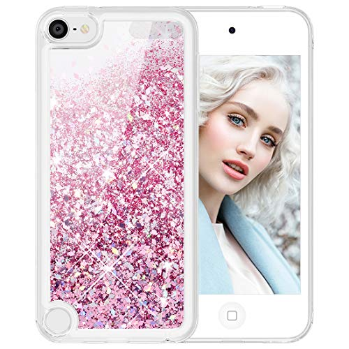 Maxdara Glitter iPod Touch 5 6 7 Case, iPod 5th 6th 7th Generation Girls Children Case Floating Liquid Bling Sparkle Pretty Cute Case for iPod Touch 5th 6th 7th Generation (Rosegold)