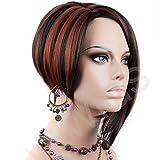 Posh Short wig Asymmetric Bob Hair Copper Red mix Black Ladies Wig WiWigs