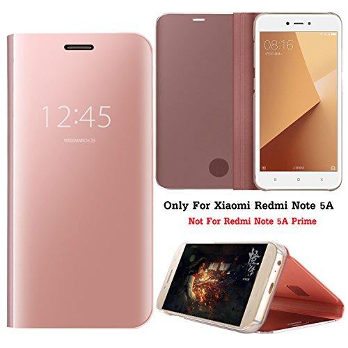 Guran? Mirror Efecto Espejo Funda para Xiaomi Redmi Note 5A Clear View Función de Soporte Plegable Smartphone Funda Protectora (Oro Rosa)