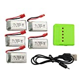 sea jump Accessories Parts Helicopter Spare Cover 5PCS 3.7V 380mAh Li Battery +1 PCS Charger (USB) for SYMA X5A-1 X15 X15C X15W Remote Control Aircrft/Flying Machine
