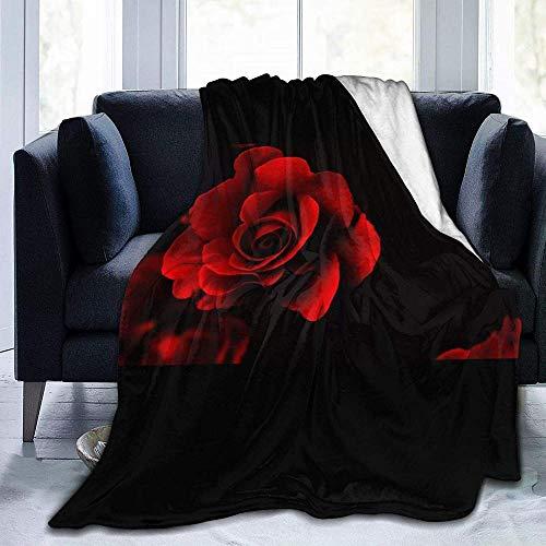 DWgatan Couverture,Jeté de lit Super Chaud en Polaire Easy Care,100% Polyester léger canapé Confort Enfants, Chambre à Coucher,Red Rose Printed Blanket for Bedroom Living Room Couch Bed Sofa -50\