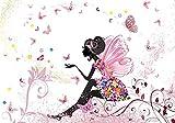 wandmotiv24 Fototapete Kinderzimmer Schmetterlingselfe L 300 x 210 cm - 6 Teile Fototapeten, Tapeten, Wandbild, Elfe,Schmetterling, Blumen, Rosa M0438
