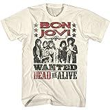 Bon Jovi Cowboy Wanted Dead Or Alive X2 Natural Adult T-Shirt Tee