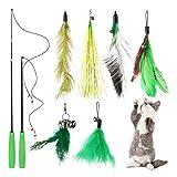 PETTOM Interaktives Katzenspielzeug Feder, Federspielzeug für Katzen, 8 Stücke Spielzeug Katzen Beschäftigung, 2 Katzenangeln und 6 Federn Set