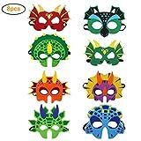 8er Dinosaurier Masken Kinder Dino Party Masken Mit Elastischen Seil Filz Masken für Kindergeburtstag Maskerade Weihnachten Halloween Cosplay