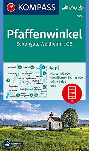 KOMPASS Wanderkarte Pfaffenwinkel, Schongau, Weilheim i. OB: 4in1 Wanderkarte 1:50000 mit Aktiv Guide und Detailkarten inklusive Karte zur offline ... Langlaufen. (KOMPASS-Wanderkarten, Band 179)