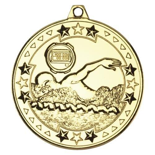 Gold-Medaille für Schwimmer, mit Band (M72G)td, 50mm