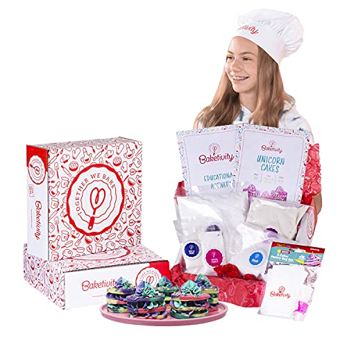 Baketivity Unicorn Cakes Baking Kit for Kids. Real Meal Cooking for Little Junior Chefs. Includes Pre-Measured Ingredients, Easy to Follow Recipe, and Bake-A-Long Video. Family Fun Baking Activity.