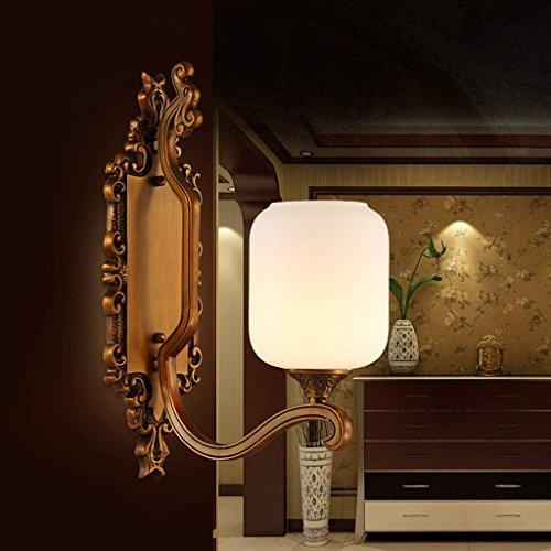LQB Chinesische Wandleuchte Schlafzimmer Nachttischlampe Retro Marmor Steinwand Gang Korridor Eingang Alle Kupfer Wandleuchte