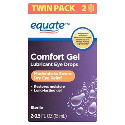 Equate Comfort Gel Lubricant Eye Drops, 0.5 fl oz, Twin Pack Box