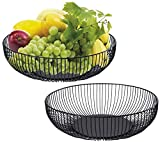 Yesland 2 Pack Metal Wire Fruit Basket- 11 x 6 x 3 Inches - Black Kitchen Countertop Fruit Bowl Vegetable Holder for Bread, Snacks, Households Items Storage for Kitchen / Livingroom
