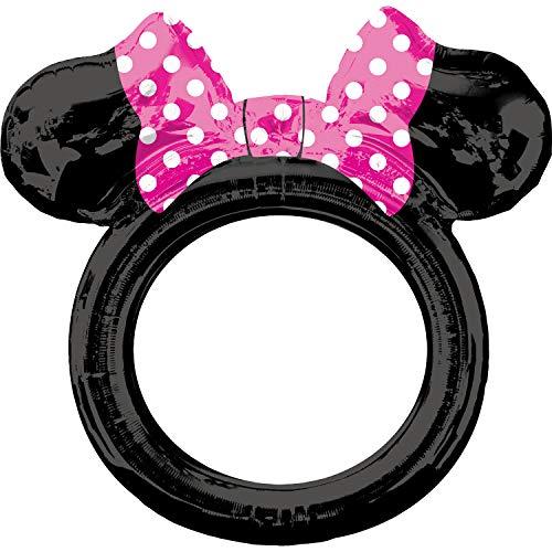 amscan 3818701 Folienballon Selfierahmen Minnie Maus, Schwarz, Pink, Weiß
