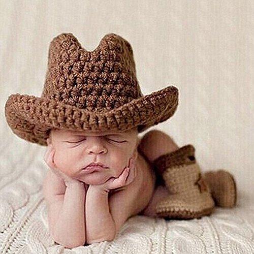 TININNA Neugeborenes Baby Mädchen Mädchen Stütze Reizend Häkeln Gestrickte Cowboy Hut Stiefel Set EINWEG Verpackung