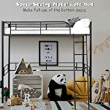 Giantex Metal Loft Bed Frame, Heavy Duty Twin Loft Bed with Ladder, Space-Saver Multifunctional Metal Pipe, Kids Bunk Bed Frame with Safety Guard Rails (Twin)