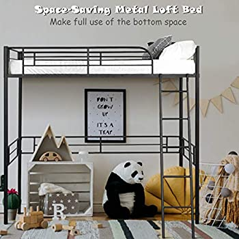 Giantex Metal Loft Bed Frame Heavy Duty Twin Loft Bed with Ladder Space-Saver Multifunctional Metal Pipe Kids Bunk Bed Frame with Safety Guard Rails  Twin