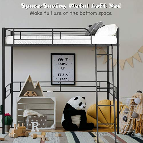 Giantex Metal Loft Bed Frame, Heavy Duty Twin Loft Bed with Ladder, Space-Saver Multifunctional...