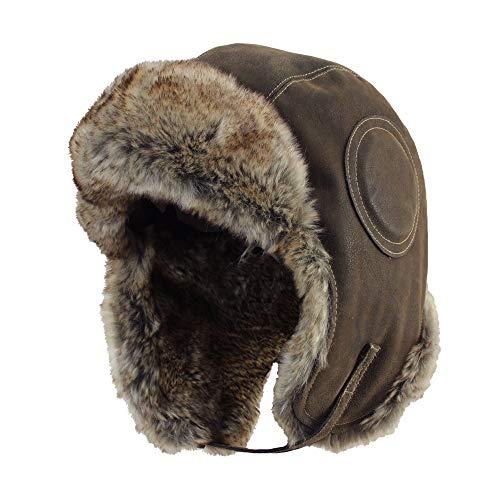 Nylon Impermeabile da Uomo Nero /& Brown in pelliccia sintetica Trapper Cappello Invernale 58//59//60cm