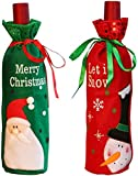 ZGHYBD Santa Claus Wine Bottle Cover Bags, Home Table Bag Decorations Ornaments Pretty Christmas Decoration Wine Bottle Cover Bags Home Party Decoration Champagne Gifts Bag [2PCS]